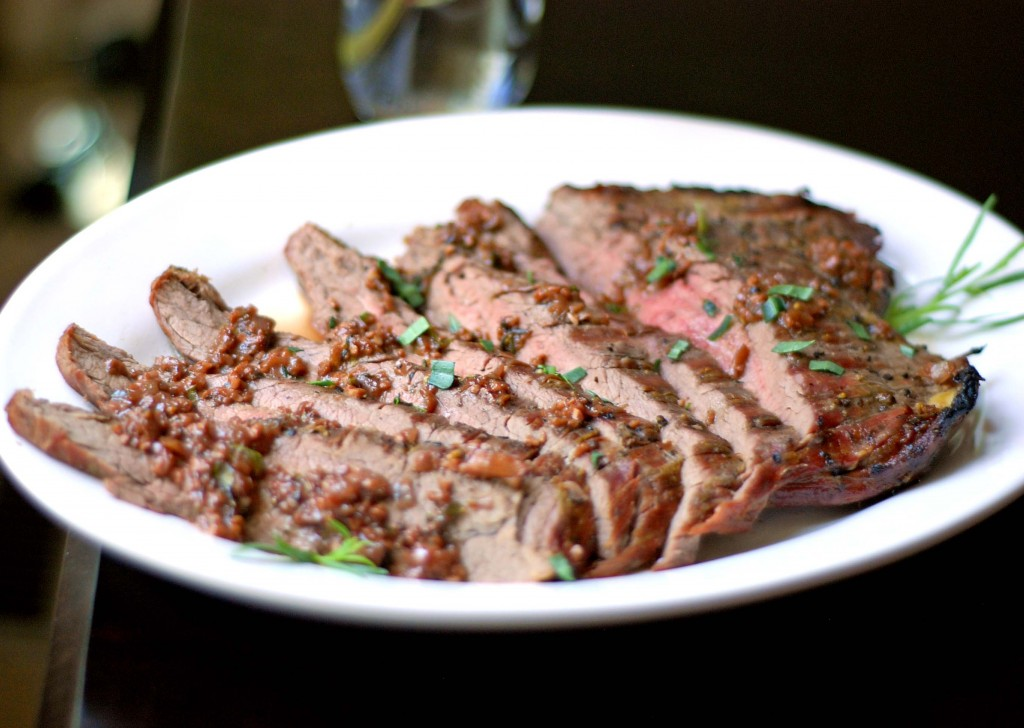 Seared Flank Steak with Shallot-Mustard Sauce | Blissfully Delicious