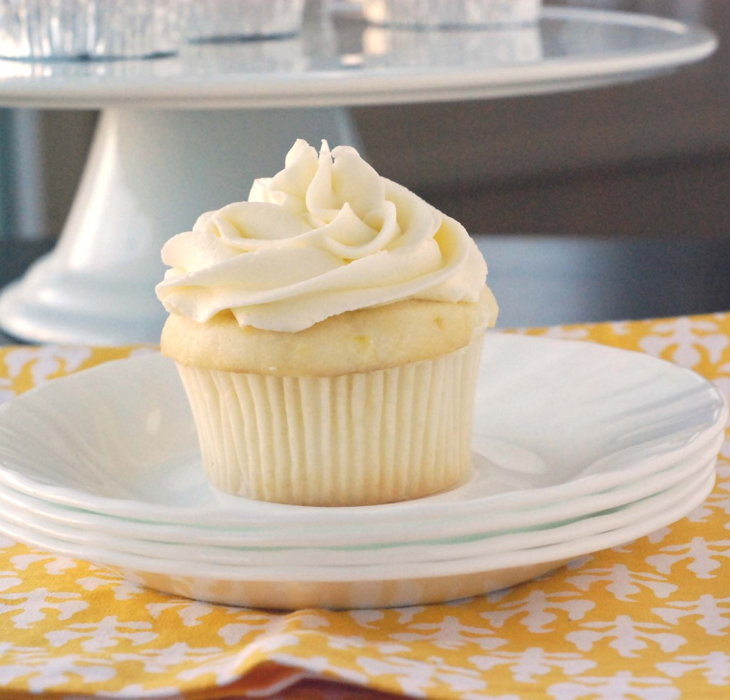 Lemon Cupcakes with Fluffy Vanilla Frosting | Blissfully Delicious