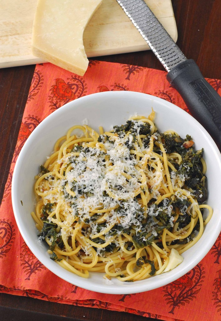 Spaghetti with Braised Kale | Blissfully Delicious