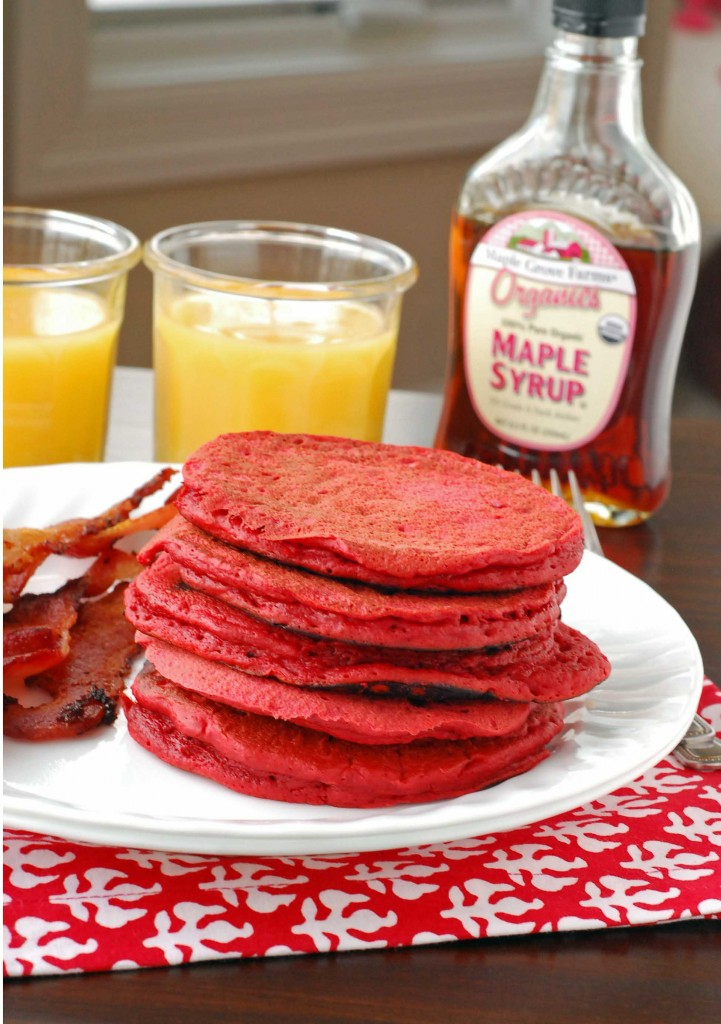 Red Velvet Pancakes with Cream Cheese Syrup Images - Frompo