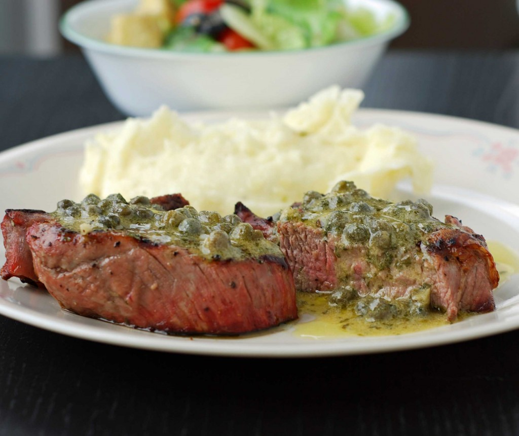 Steaks with Caper-Mustard Vinaigrette | Blissfully Delicious