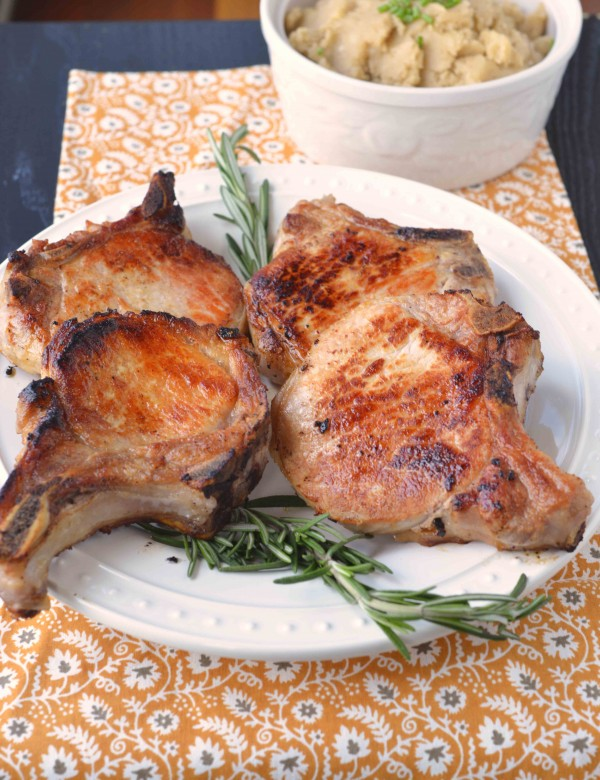 Orange and Rosemary Brined Pork Chops | Blissfully Delicious